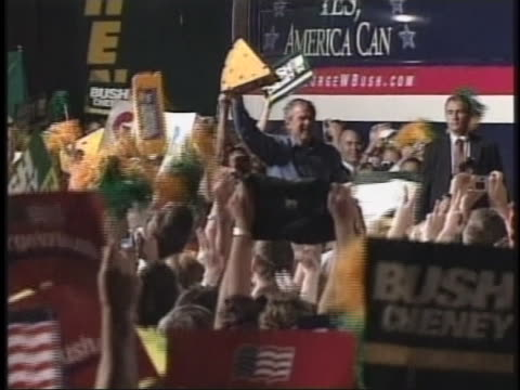 the july 15th today show covers the bush-cheney presidential campaign in green bay, wi. - bush stock videos & royalty-free footage