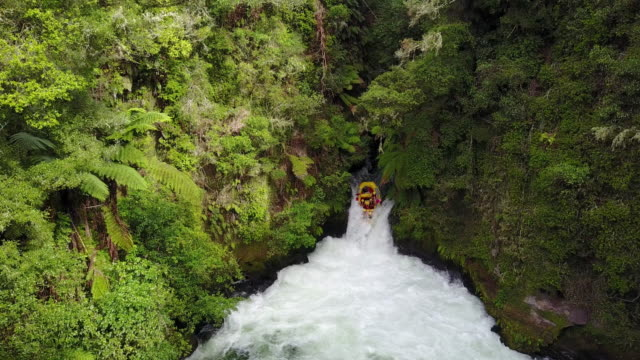the kaituna river in rotorua is famous for it's rafting. the rafting trip includes the highest commercially rafted waterfall at 7 meters high. - north island new zealand stock videos & royalty-free footage