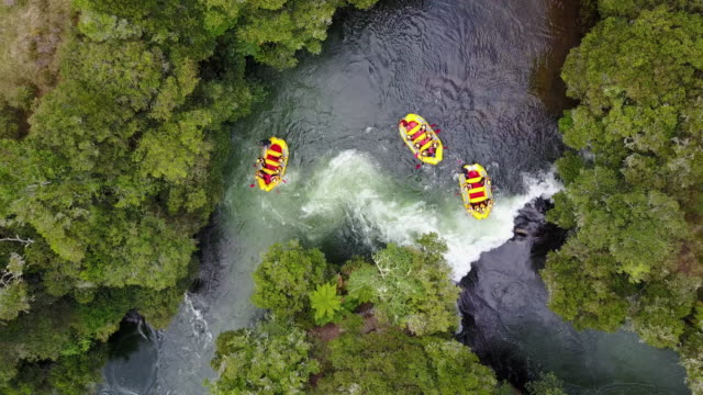 the kaituna river in rotorua is famous for it's rafting - inflatable raft stock videos and b-roll footage