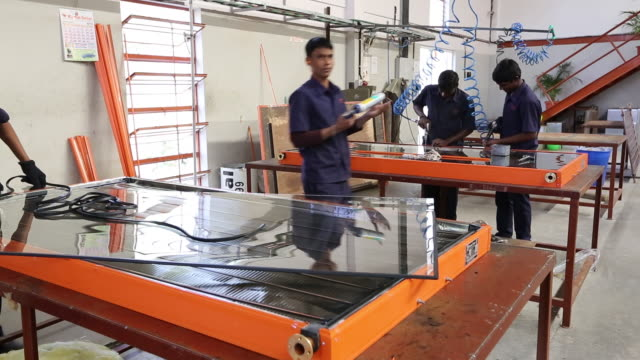 the kamal factory in bangalore, karnataka, india that manufactures solar thermal panels for heating water. - material stock videos & royalty-free footage