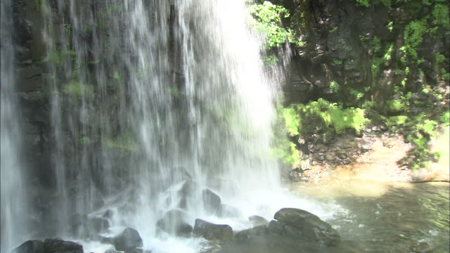 The Karasawa Falls splash into a lush pool.
