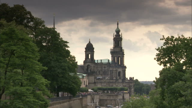 the katholische hofkirche cathedrals towers over downtown dresden germany. available in hd. - hofkirche stock videos & royalty-free footage