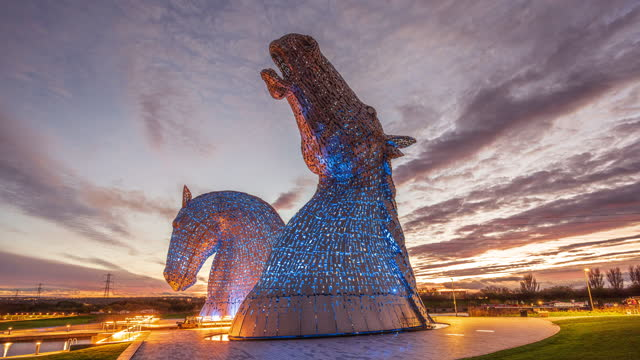 the kelpies a contemporary sculpture designed by andy scott - sculpture stock videos & royalty-free footage