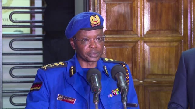 the kenyan chief of police reveals that the death toll from the nairobi hotel complex terrorist attack has risen to 21 - police chief stock videos and b-roll footage