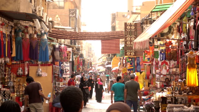 the khan el-khalili souq market in cairo city, egypt - africa stock videos & royalty-free footage