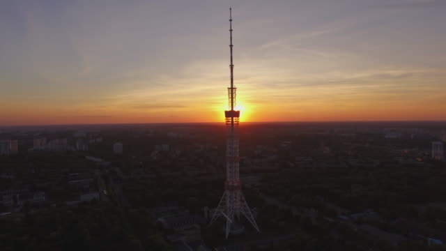 the kiev tv tower at sunset with backlight - 1973 stock videos & royalty-free footage