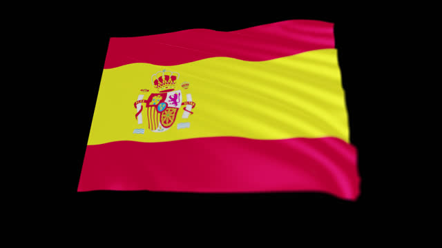 the kingdom of spain flag blowing in the wind, 3d animation. seamless loop. - 連続文様点の映像素材/bロール