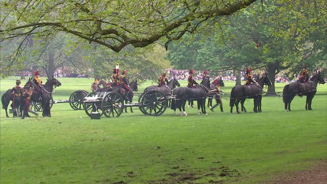 the king's royal horse artillery firing gun salute with cannons - royal horse artillery stock videos and b-roll footage