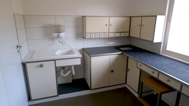 the kitchen of the haus am horn, an original bauhaus family house from 1923, is seen during a press preview of the the new bauhaus-museum weimar on... - weimar video stock e b–roll