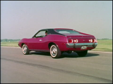 the kitschy style of the 1970s is front and center in the first half of this great promotional film for the american motors javelin sports car from... - curious cumulus productions stock videos and b-roll footage