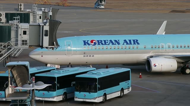 stockvideo's en b-roll-footage met the korean air lines co logo is displayed at the company's skypass mileage program booth at incheon international airport in incheon south korea on... - incheon