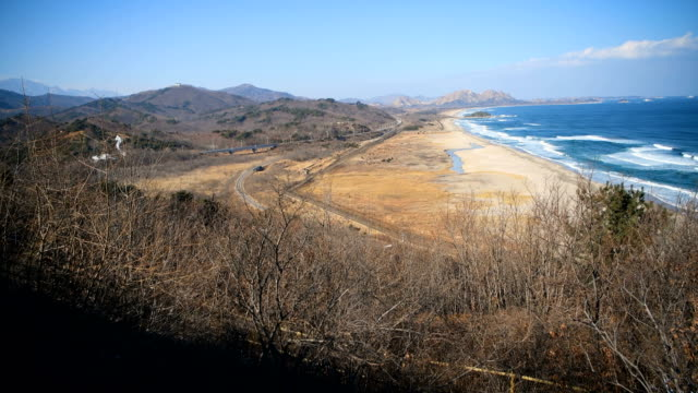 The Korean Demilitarized Zone is pictured from Goseong Unification Observatory on February 3 2018 near Goseonggun South Korea The Demilitarized Zone...