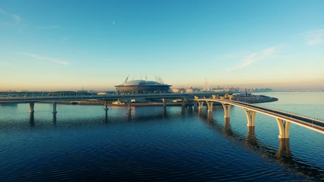 the krestovsky stadium, also called zenit arena, is a football stadium in the western portion of krestovsky island in saint petersburg, russia - fifa world cup stock videos & royalty-free footage