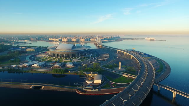 the krestovsky stadium, also called zenit arena, is a football stadium in the western portion of krestovsky island in saint petersburg, russia - stadium stock videos & royalty-free footage