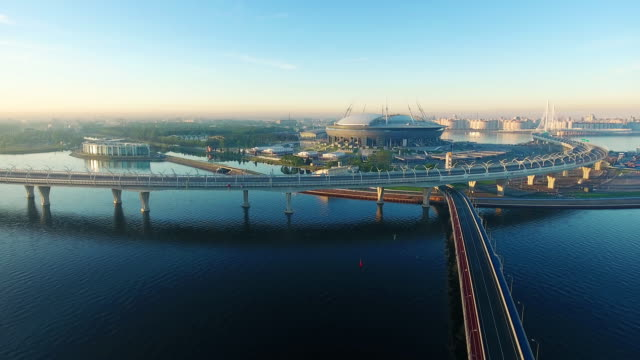 the krestovsky stadium, also called zenit arena, is a football stadium in the western portion of krestovsky island in saint petersburg, russia - st. petersburg russia stock videos & royalty-free footage