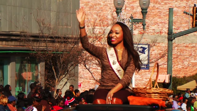the 'krewe of harambee mardi gras parade' is held annually on martin luther king jr day spectators attend the celebration in downtown shreveport to... - beauty queen stock videos and b-roll footage