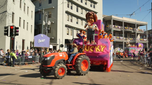 The Krewe of Okeanos Chucky parade float passes Lee Circle on St Charles Avenue in New Orleans during Mardi Gras The theme of the parade was 'Okeanos...