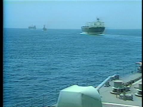 the kuwaiti tanker bridgeton sails under escort of the uss kidd in the persian gulf. - persian gulf stock videos & royalty-free footage