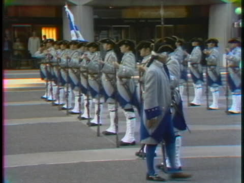 the la compagnie de la franche marine marching band performs in the place ville marie in montreal. - music or celebrities or fashion or film industry or film premiere or youth culture or novelty item or vacations stock videos & royalty-free footage