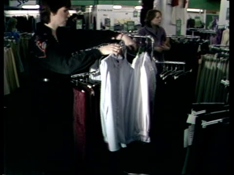 the 'lady di' fashion england london fenwicks ms clothes on rails ms knickerbockers held in thin ties in basket ms blouse held ms quotsummer... - collection stock videos & royalty-free footage