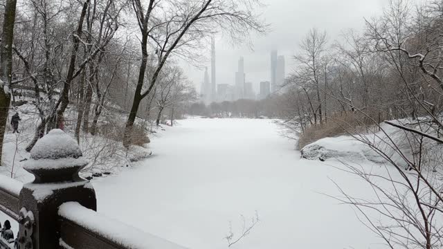 the lake and midtown manhattan skyline as viewed from the oak bridge as people walk in the ramble in central park during a snowstorm on february 19,... - dia stock videos & royalty-free footage