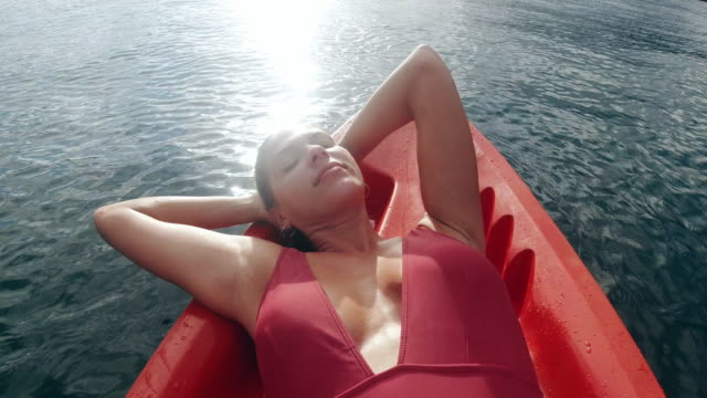 the lake is the perfect place for a nap - bikini stock videos & royalty-free footage
