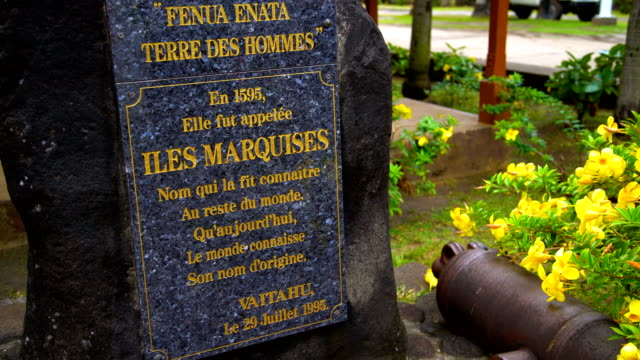 the land of men stone plaque tahuata marquesas - polynesian ethnicity stock videos & royalty-free footage