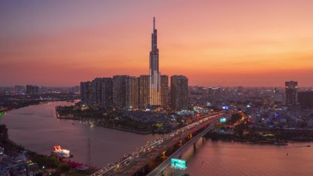 the landmark81 beautiful sunset - ho chi minh city, vietnam - aerial view - anniversary stock videos & royalty-free footage