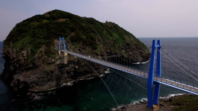 The landscape of a large pedestrian suspension bridge of Ulleungdo Island (Famous travel destination in Korea) in Ulleunggun, South Korea