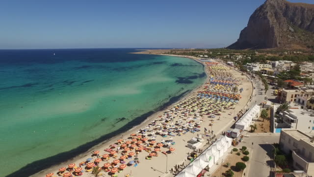 the landscape of beach of san vito lo capo in sicily, italy - sicily stock videos & royalty-free footage
