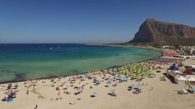 the landscape of beach of san vito lo capo in sicily, italy - italien stock-videos und b-roll-filmmaterial