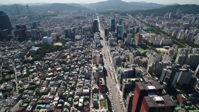 The landscape of Seoul city and intersection nearby the Kyobo Tower (Famous building in Korea) in Gangnam-gu, South Korea