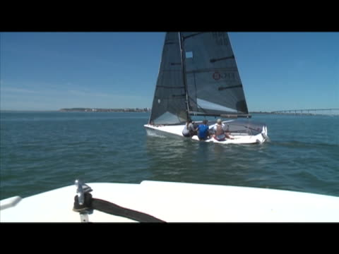 the largest national sailboat racing circuit in the united states, the helly hansen national offshore one design regatta series in san deigo on march... - regatta stock-videos und b-roll-filmmaterial