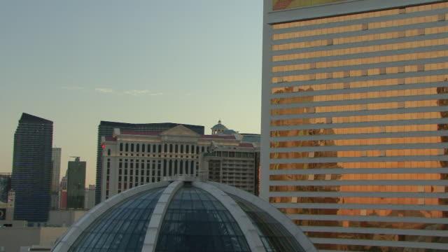 PAN of the Las Vegas strip at sunset