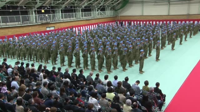 the last contingent of japanese ground selfdefense force members engaged in a un peacekeeping mission in south sudan returned to japan on saturday... - japan self defense forces stock videos and b-roll footage