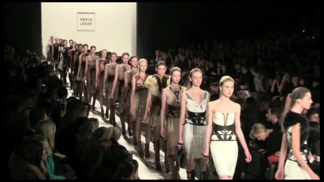 The Last round of models and the designer salute at Herve Leger Fashion Show during the 2012 Fall Winter Fashion Week in New York City Final Round of...