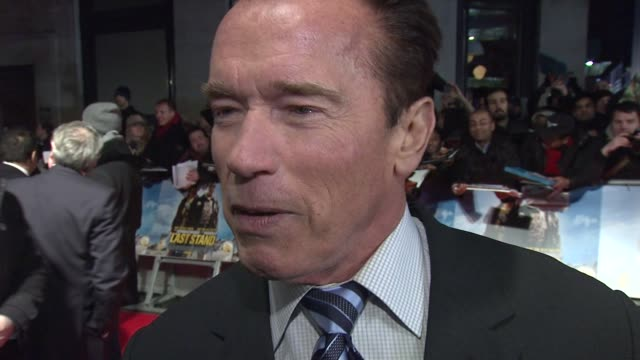 chyron 'the last stand' uk premiere at empire leicester square on january 22 2013 in london england - arnold schwarzenegger stock-videos und b-roll-filmmaterial