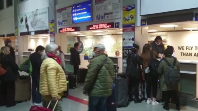 stockvideo's en b-roll-footage met the last tourist group under quarantine due to coronavirus in the turkish republic of northern cyprus returned home to germany on april 02 2020 trnc... - repubiek cyprus