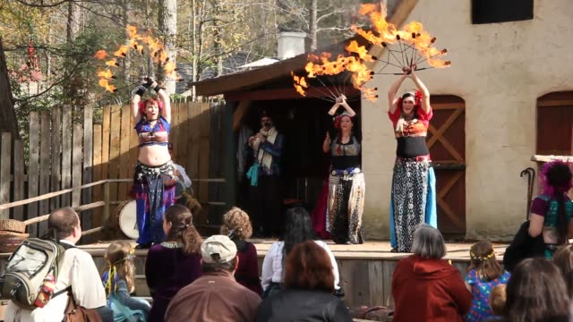 the last weekend of the carolina renaissance festival is wrapping up as visitors enjoy the atmosphere food entertainment and games - renaissance stock videos & royalty-free footage