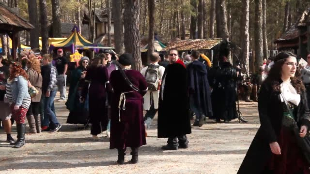 the last weekend of the carolina renaissance festival is wrapping up as visitors enjoy the atmosphere, food, entertainment and games. - お祭り好き点の映像素材/bロール