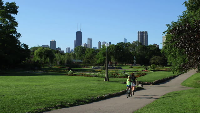 vídeos de stock, filmes e b-roll de the lawn at lincoln conservatory park and the chicago skyline - chicago illinois