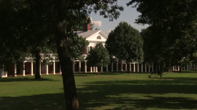 the lawn west range on grounds at the university of virginia - grounds stock videos & royalty-free footage
