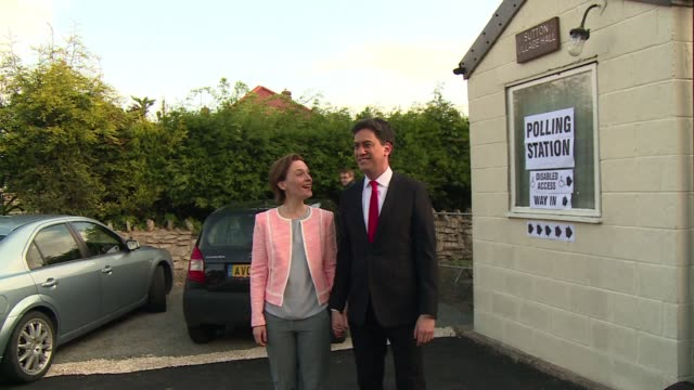 the leader of britains labour party ed miliband votes in the countrys general election - ed miliband stock-videos und b-roll-filmmaterial