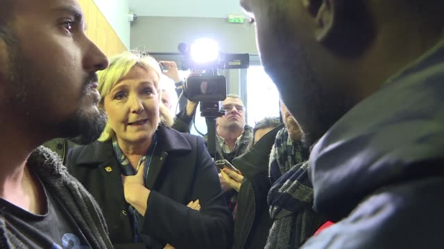 The leader of France's Front National party Marine Le Pen visits the centre for administrative retention in Vincennes saying there has been an...