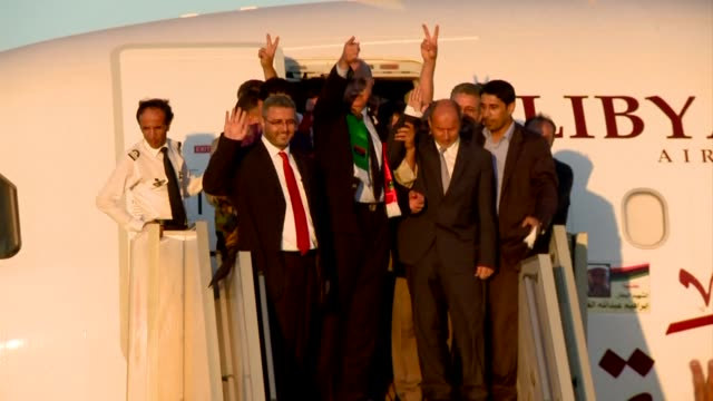 the leader of libya's new interim government mustafa abdel jalil arrived in the capital on saturday for the first time since his forces seized the... - libyan civil war stock videos & royalty-free footage