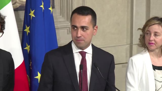 stockvideo's en b-roll-footage met the leader of the 5 star movement luigi di maio proposes the name of the future prime minister to sergio mattarella the president of the italian... - clean