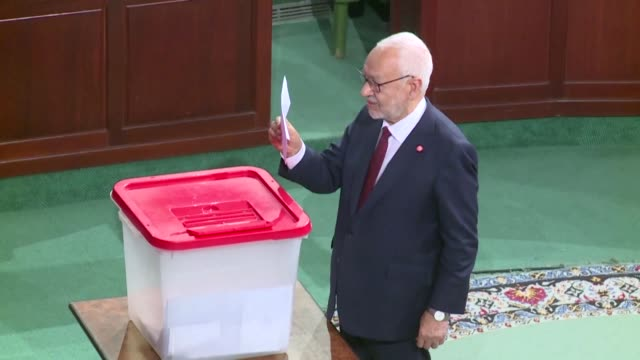 stockvideo's en b-roll-footage met the leader of tunisias islamist inspired ennahdha party rached ghannouchi is elected parliament speaker a month after it came top in legislative polls - tunesië