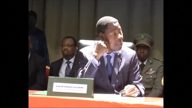 the leaders of nigeria and its neighbouring countries meet in niger for talks on finalising a multi national force to fight boko haram islamist... - mahamadou issoufou stock videos and b-roll footage