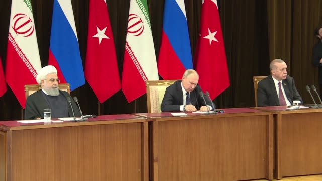 vídeos y material grabado en eventos de stock de the leaders of russia turkey and iran hail the planned us withdrawal from syria as they meet for talks in sochi on how to work more closely together... - sochi