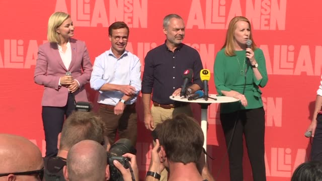 stockvideo's en b-roll-footage met the leaders of the centre right opposition alliance campaign in stockholm - clean